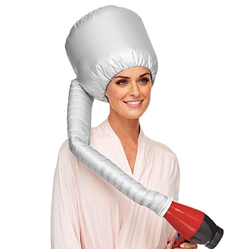 uxcell Portable Soft Hair Drying Cap Bonnet Hood Hat Blow Dryer Attachment Sliver Tone (Soft Portable Hair Dryer compare prices)