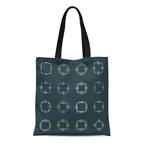 Semtomn Canvas Tote Bag Shoulder Bags Huge Rosette Wicker Border Collection Vintage Symbol Certificate Women's Handle Shoulder Tote Shopper Handbag