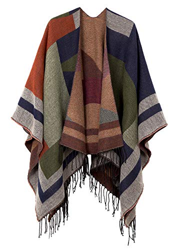 (Urban CoCo Women's Printed Tassel Open front Poncho Cape Cardigan Wrap Shawl (Series 8-Green) )