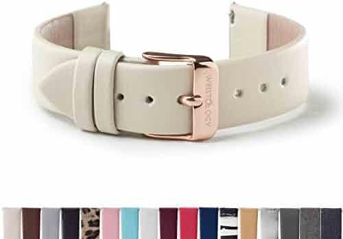 WRISTOLOGY Rose Gold 18mm Womens Easy Interchangeable Watch Band (Beige)