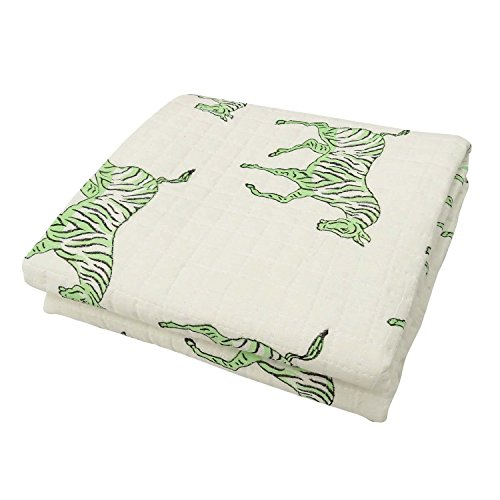Craftofpinkcity Hand Block Print Cotton Kantha Baby Quilt Blanket Throw Green Zebra Block Print
