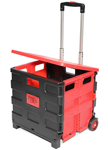 VViViD FLDCRT30KG Small Two-Wheeled Folding Plastic Universal Utility Hand Cart Featuring Telescoping Aluminum Handle
