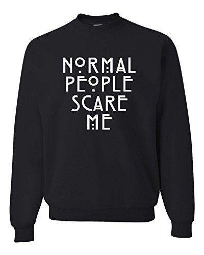 Go All Out Screenprinting X-Large Black Adult Normal People Scare Me Sweatshirt Crewneck (People Sweatshirt Mens)