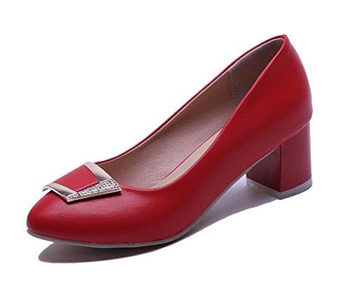 AllhqFashion Damen Mittler Absatz Eingelegt Rund Zehe Ziehen auf Stiefel, Rot, 41