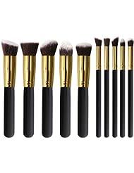 Makeup Brushes Set U'COVER Professional Synthetic Kabuki Foundation/Contour Powder/Conceal/ Eyebrow/Eyeshadow Brush for Face & Eye Makeup Cosmetics Brushes kit (10pcs) - Golden Black