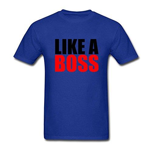 Men's Like A Boss Funny 100% Cotton Classical T-shirt Royal Blue XXL