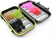 Wild Water Fly Fishing Wooly Bugger Fly Assortment, 15 Flies with Small Fly Box