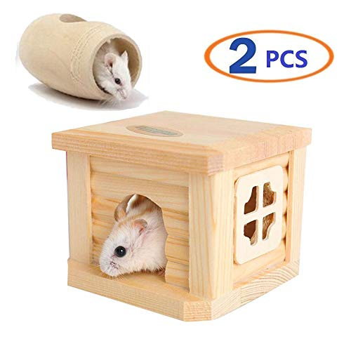 Dwarf Hamster House Durable Odorless Non-Toxic Deluxe Two Layers Wooden Hut for Hamster Toys Hamster House Natural Living Wooden Castle, Small Animal Playground Chew Toy (1hamster House and Tunnel)