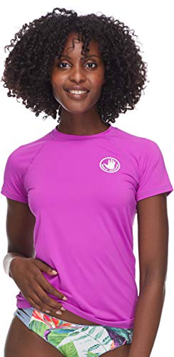 Body Glove Women's Smoothies in-Motion Solid Short Sleeve Rashguard with UPF 50 Magnolia, Small