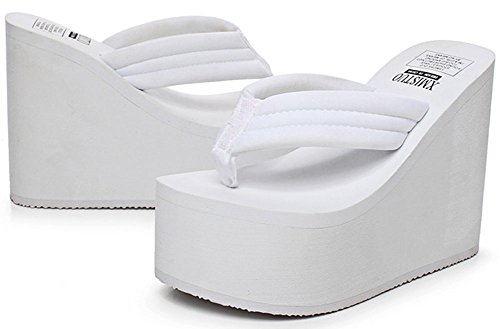Platform QZUnique Thong Summer Slipper High White Wedge Flops Fashion Sandals Women's Flip Heel wggrt6