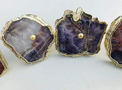 cassettiera cassettiera armadio Set di 6 maniglie decorative in ametista//agata classica finitura vintage per armadio