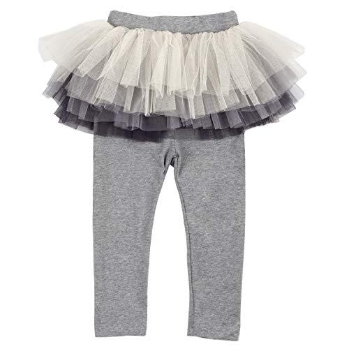 Slowera Little Girls Footless Leggings with Tutu Skirt (Grey, 110: 4 Years) -