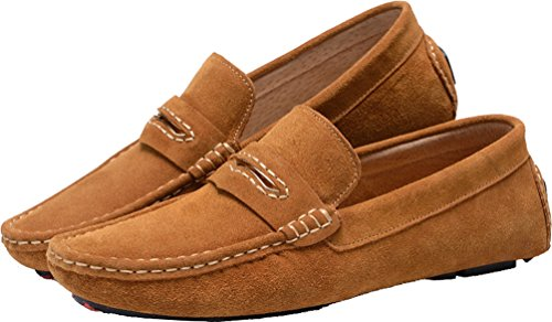 Abby Mens Qz-0057 Fashion Comfort Cozy Cosiness Message Driving Flat Leather Shoes Brown