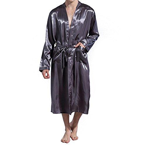 Amzchoice Men V Neck Satin Robe Kimono Long Bathrobe Lightweight Sleepwear  Wedding 2bc39126c