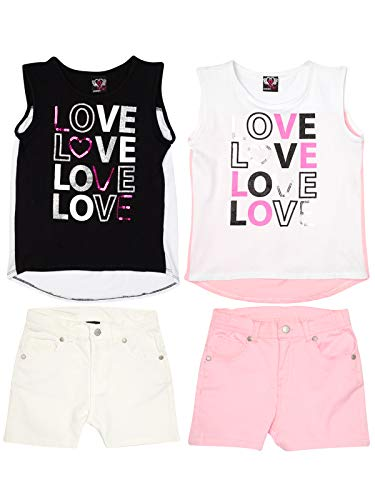 Real Love Girls 4-Piece Denim Short Set with Knit Top (2 Full Sets), Love, Size 10/12' ()