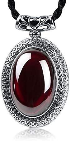Collar con colgante de plata esterlina 100% granate Retro 100% piedras preciosas naturales reales colgantes de calcedonia joyería para mujeres