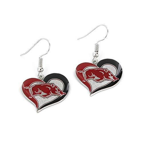 NCAA Arkansas Razorbacks Swirl Heart Earrings