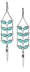 Lucky Brand Turquoise Feather and Turquoise Drop Earrings