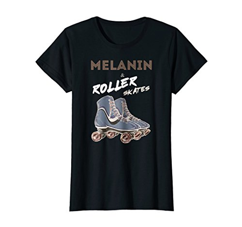 Melanin And Roller Skates Vintage Black Girl Tee Shirt ()
