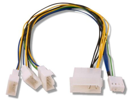 Fan Splitter 4 pin Molex > 3 Qty PWM headers 30cm long CONNECT MULTIPLE PWM FANS