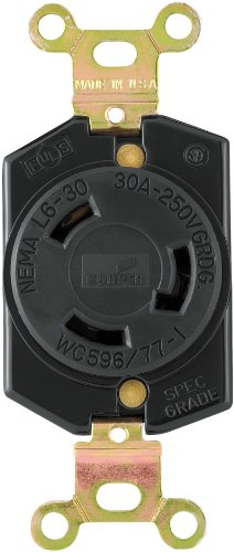 EATON L630R Recpt Single Lock 30A 250V, Black (Nema 6 30r Receptacle)
