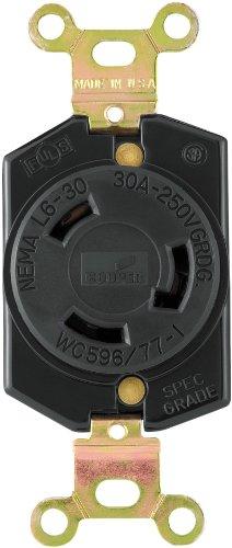 EATON L630R Recpt Single Lock 30A 250V, Black ()