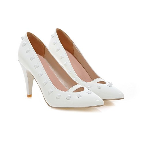 BalaMasa Ladies Low-Cut Uppers Pointed-Toe Grommets Urethane Pumps Shoes White GlzPmf94J9