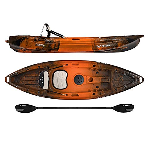Vibe Kayaks Skipjack 90 | 9 Foot | Angler and Recreational Sit On Top Light Weight Fishing Kayak with Paddle and Seat (Wildfire)