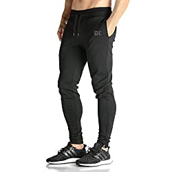 BROKIG Mens ZIP JOGGER Pants - Casual GYM Fitness Trousers Comfortable Tracksuit Slim Fit Bottoms Sweat Pants with Pockets (M, Black)
