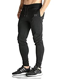 Mens Zip Joggers Pants - Casual Gym Fitness Trousers Comfortable Tracksuit Slim Fit Bottoms Sweatpants With Pockets