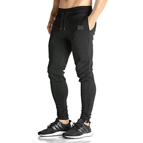 BROKIG Mens ZIP JOGGER Pants - Casual GYM Fitness Trousers Comfortable Tracksuit Slim Fit Bottoms Sweat Pants with Pockets (L, Black)