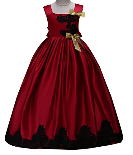 Sleeveless Knee Flower Girl Dresses for Wedding Girls 7-16 Floor Length Halloween Pageant Party Dress Bow (Burgundy, 170) (Floor 7 Halloween Special)