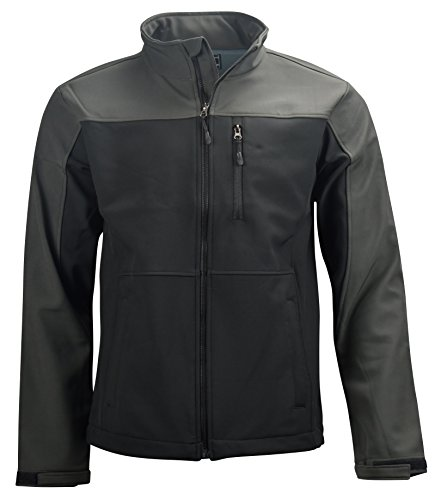 Profound Apparel Men's Softshell Jacket Water-Resistant Front-Zip (Black and Gray, (Motion Soft Shell Jacket)