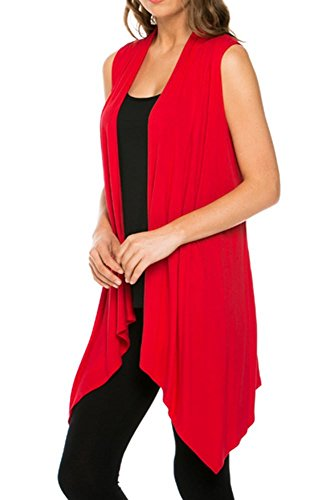 Cardigans for Women Solid Color Sleeveless Asymetric Hem Open Front Drape Long Cardigan Vest -Red (Large)