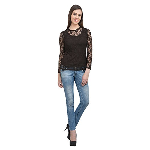 Eves Pret A Porter Womens Net Top Small Brown