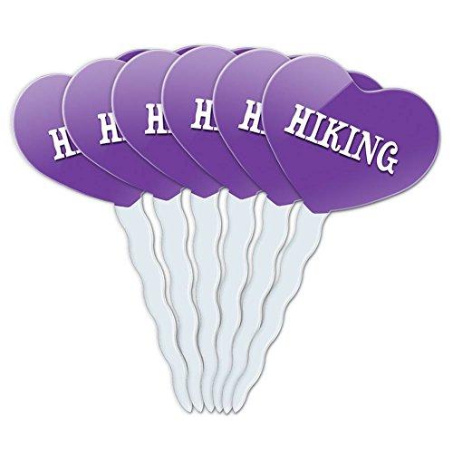 Purple-Heart-Love-Set-of-6-Cupcake-Picks-Toppers-Decoration-I-Love-Heart-Sports-Hobbies-Go-Ir-Hiking