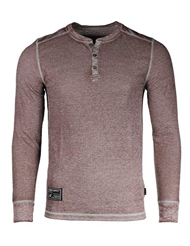 (ZIMEGO Men's Casual Long Sleeve Lightweight Burnout Thermal and Heather Henley Maroon)