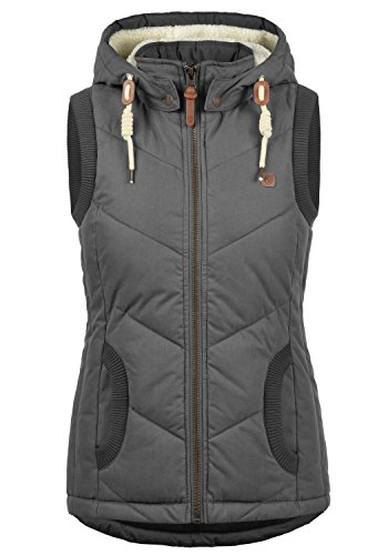 Women's with Quilted Desires Dark Grey 2890 Warmer Vest Body Lore Gilet Hood 5TZqaZR