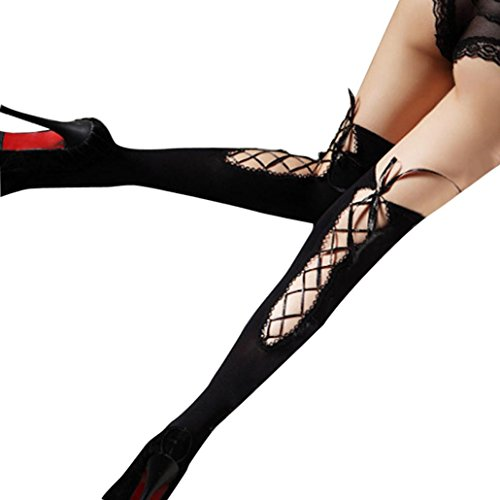Lamolory Women's Opaque Thigh-High Stockings With Satin Bows (Black, - Guy Nerd Outfit