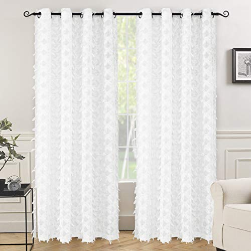 e Grommet Semi Sheer Curtains, Woven Water Drop Geometric Pattern, Embroidered silver thread with Featherlike Soft Pom Pom Tassel, Faux Linen Texture, Set of 2, 52