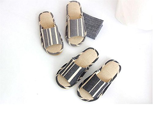 Fabric Bottom TELLW Men Linen Cotton Floor Indoor Men Flax Gray Fall Skid Summer Wooden Spring Home Cool Slippers Couple for Mute Soft Slippers Female Anti rZrqw