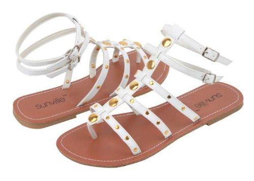 Sunville Kvinna Gladiator Mode Sandaler Vita