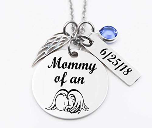 (Memorial Jewelry, Stainless Steel, Personalized, Remembrance Necklace, Bereavement Jewelry, Mommy Of An Angel)