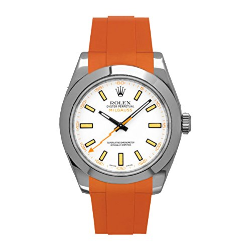 [ラバービー] RubberB ラバーベルト ROLEX ミルガウス専用ラバーベルト(尾錠付き)(オレンジ)※時計は付属しません(Watch is not included)[並行輸入品]  B01IZQZK0U