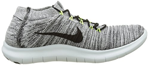 Nike Mens Free RN Motion Flyknit, WHITE/BLACK-VOLT-OFF WHITE, 7 M US