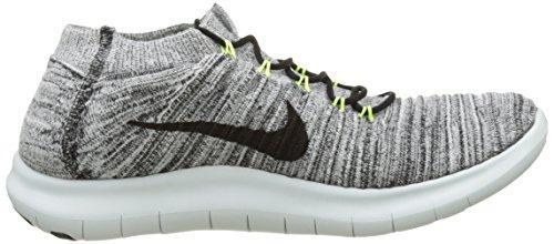Nike Mens Gratis Rn Rörelse Flyknit Löparskor Vit / Svart-volts-benvita