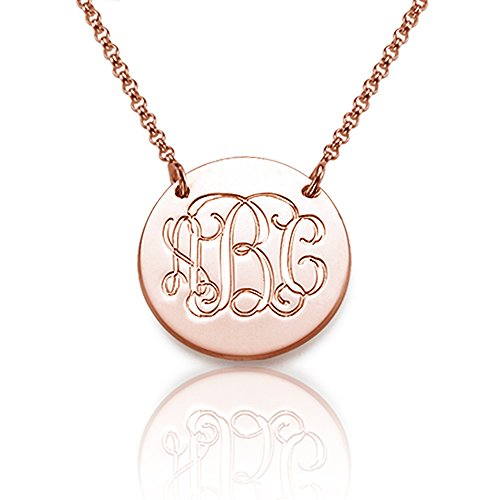 Rose Gold Plated Monogram Disc Necklace - Custom Made with Any Initial! - Emily And Ashley Initials Necklace