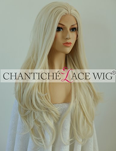 Chantiche Glueless Golden Blonde Natural Wavy Synthetic Wigs for Christmas Day Beautiful Women's Half Hand Tied Big Wave Lace Front Wig+Free Cap Heat Resistant 22 Inches (Wig Beautiful)