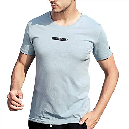 Mote Mens Clothes, Mens Casual Loose Sweat-Wicking Lightweight Breathable Classic Short Sleeve Sky Blue ()