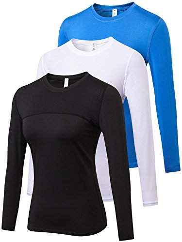 - Yuerlian Women's 3 Pack Compression Long Sleeve Round Crew Neck T-Shirt Long Sleeve Top
